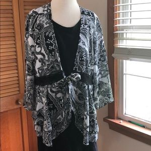 Cato Plus sheer chiffon tie front print jacket